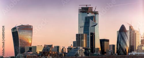 Die Skyline der City von London mit den zahlreichen Wolkenkratzern und markanter Architektur bei Sonnenaufgang
