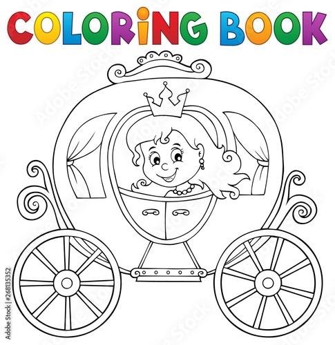 Fotobehang Voor kinderen Coloring book princess carriage theme 1