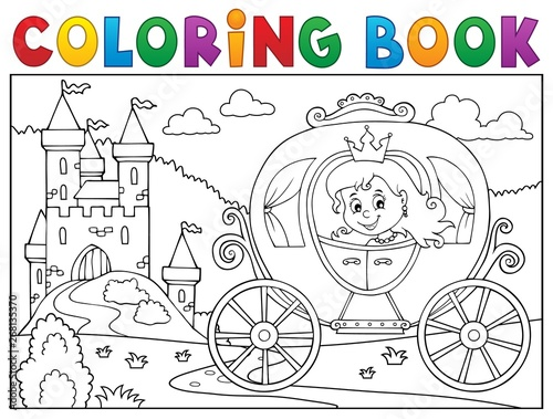 Wall Murals For Kids Coloring book princess carriage theme 2