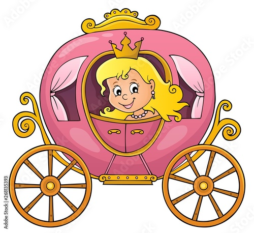 Stickers pour porte Enfants Princess in carriage theme image 1