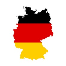 Federal Republic Of Germany Map With The Flag Inside Isolated On White