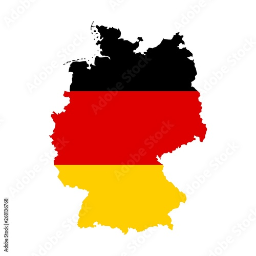 Fototapeta Federal Republic of Germany map with the flag inside isolated on white