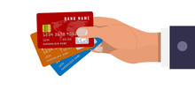 Hand Holds Three Credit Cards In Three Different Colors. Red, Orange And Blue Colors. Vector Illustration.