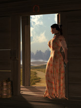 Somewhere In The Wild West, A Woman In A Peach Colored Dress Stands At The Threshold The Door Of A Wooden Cabin. She Looks Into The Distance Out The Door With A Revolver In Her Hand. 3D Rendering