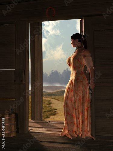 Valokuvatapetti Somewhere in the wild west, a woman in a peach colored dress stands at the threshold the door of a wooden cabin