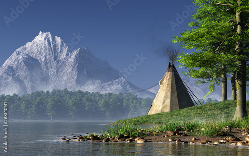 Photo Somewhere in the American West, a lone Indian teepee sits by a serene lake