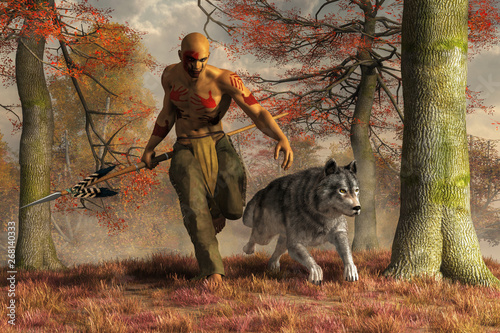 A Native American hunter runs alongside a large timber wolf though the dry autumn grass Canvas Print
