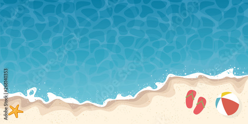 Photo summer beach and ocean background banner with starfish and flip-flops vector ill