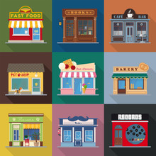 Shops And Venues Flat Design Vector Icons