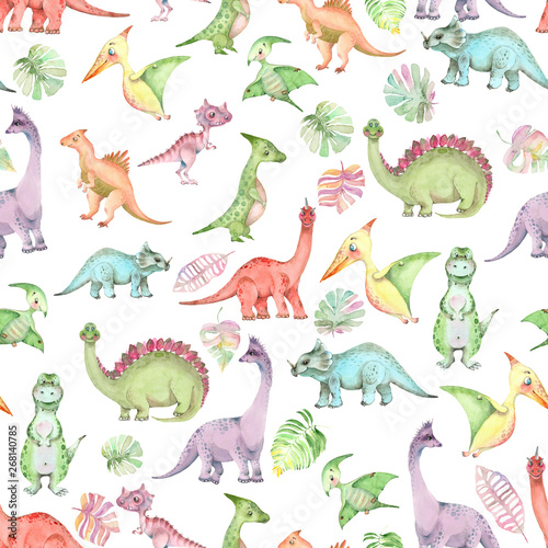 Photo  Watercolor dinosaurs pattern