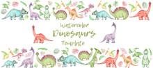 Watercolor Dinosaurs Banner