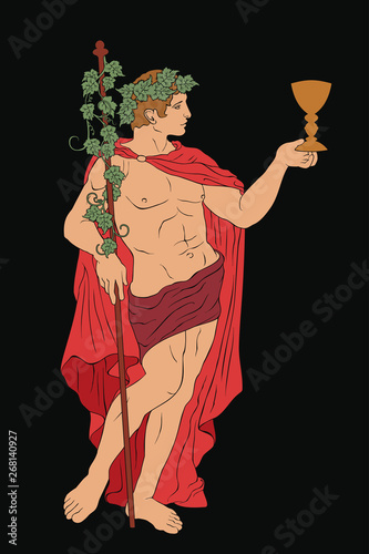 The ancient Greek god Dionysus with a glass and a rod