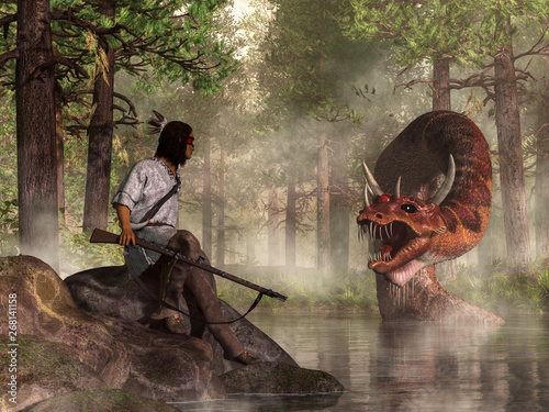 Photo A Native American Warrior carrying a flintlock musket faces Uktena, the horned snake, a dragon-like creature of American Indian legend, which rises from the waters of a forest lake