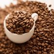 コーヒーカップに入ったコーヒー豆