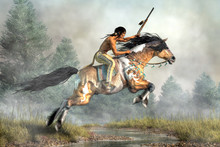 A Native American Warrior Rides His Pinto Coated Horse As It Jumps Over A Creek.  The Man Holds Aloft His Hunting Spear As His Mustangs Gallops Across The Plains Of The American West.  3D Rendering