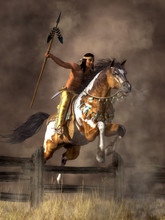A Native American Warrior Rides His Pinto Coated Horse As It Jumps Over A Fence.  The Man Holds Aloft His Hunting Spear As His Mustangs Gallops Across The Plains Of The American West.  3D Rendering