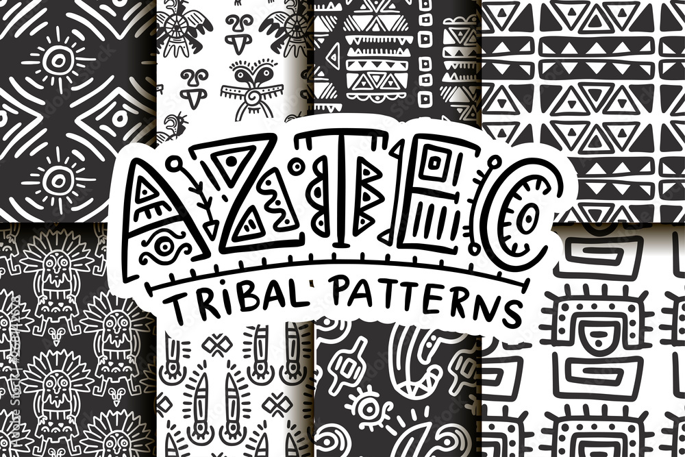 Fototapety, obrazy: Seamless aztec vector pattern set. Tribal traditional indian fabric design collection. Folk vintage illustration.