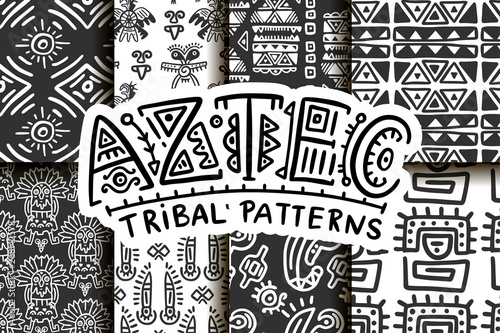 obraz PCV Seamless aztec vector pattern set. Tribal traditional indian fabric design collection. Folk vintage illustration.