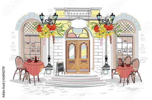 Obraz na płótnie Series of backgrounds decorated with flowers, old town views and street cafes