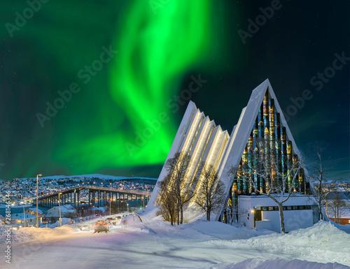 Deurstickers Noorderlicht Norwegen Tromso Eismeerkathedrale Nordlicht