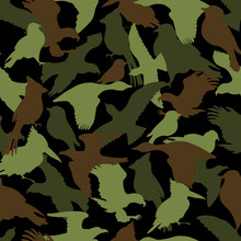 Green, Brown And Black Camouflage Silhouettes Of Birds, Protection Seamless Background