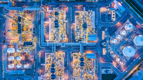 Fototapeta Top view of oil refinery obraz