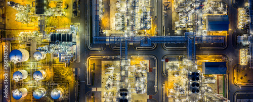 Fotografie, Obraz  Top view of oil refinery