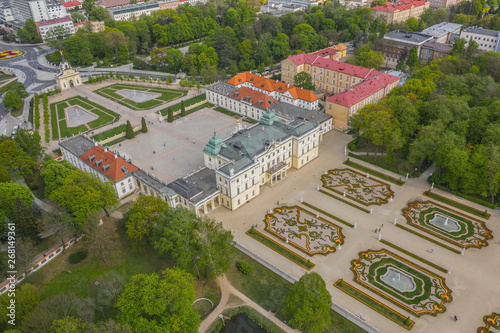 Obraz Widok z lotu ptaka na Pałac Branickich w Białymstoku - fototapety do salonu