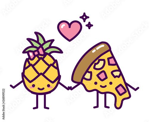 Pineapple pizza couple hawaii cute kawaii love #268149522