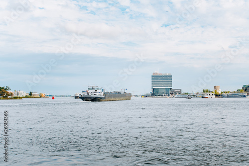 Panoramic view of Amsterdam from the boat Canvas Print