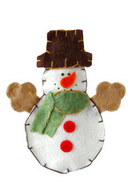 Christmas Tree Decorations Snowman Toy Isolate White Background