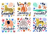 Fototapeta Fototapety na ścianę do pokoju dziecięcego - Hand drawn colorful collection of animals with flowers and leaves. Scandinavian style design. Vector illustration