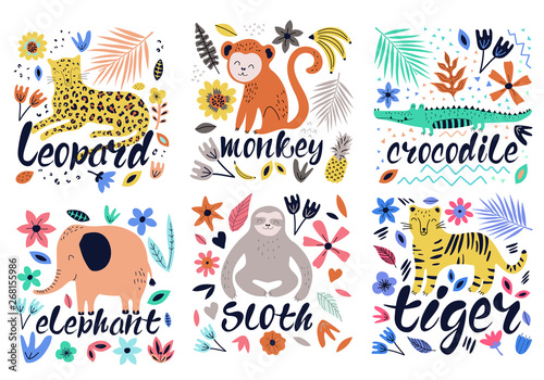 mata magnetyczna Hand drawn colorful collection of animals with flowers and leaves. Scandinavian style design. Vector illustration