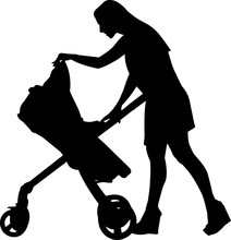 Woman With Stroller Silhouette...