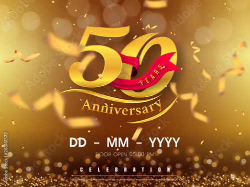 Photo 50 years anniversary logo template on gold background