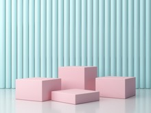 3d Rendering, Minimal Podium, Abstract Objects. Four Pink Boxes On A Bright White Floor, The Blue Wall Of The Background Has A Cylinder Texture. Scene With Abstract Background To Show A Product.