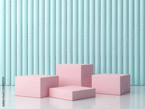 3d Rendering Minimal Podium Abstract Objects Four Pink Boxes On