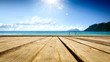 canvas print picture - Wooden pier of  free space for your decoration and summer sunny day. Free space for your decoration.
