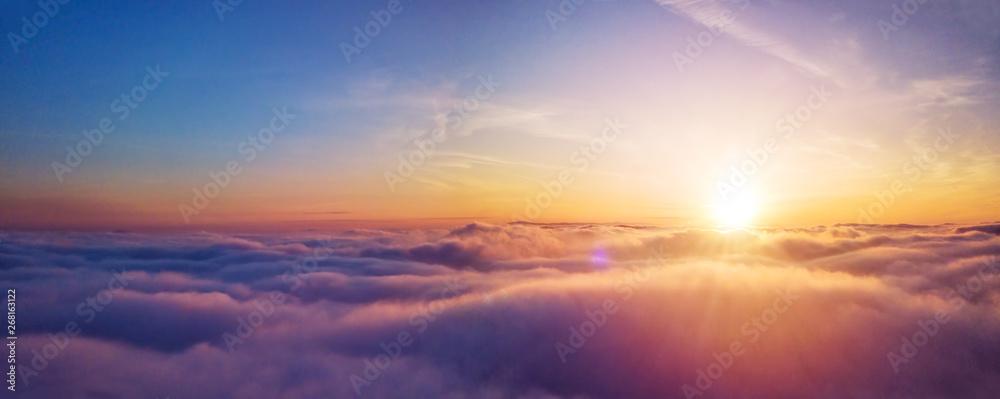 Fototapeta Beautiful sunrise cloudy sky from aerial view