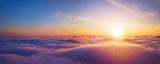 Fototapeta Na sufit - Beautiful sunrise cloudy sky from aerial view