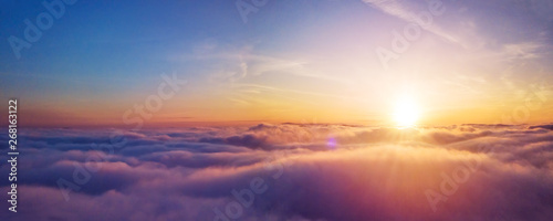 Fototapeta Beautiful sunrise cloudy sky from aerial view obraz