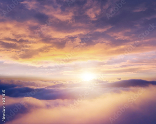 Beautiful sunrise cloudy sky from aerial view - 268163157