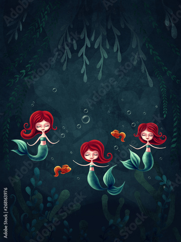 Fotografie, Obraz  Three little mermaids