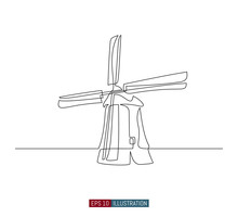 Continuous Line Drawing Of Vintage Windmill. Template For Your Design Works. Vector Illustration.