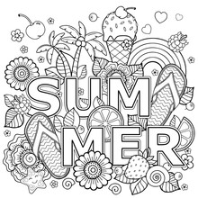 Hand Drawn Coloring Book For Adult. Summer Holidays, Party And Rest