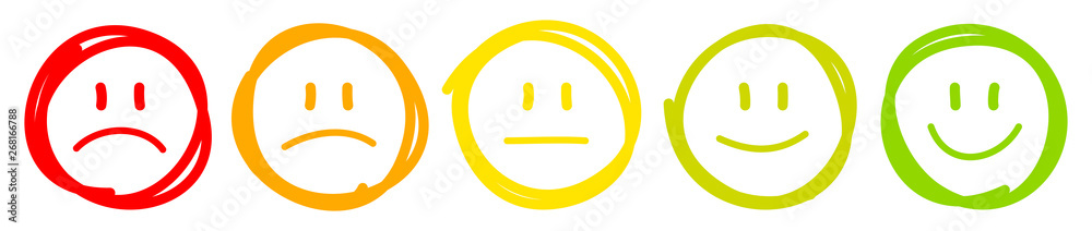 Fototapeta 5 Handgezeichnete Gesichter Feedback/Stimmung Kontur