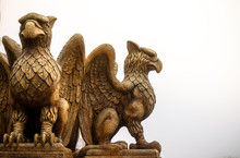 Statue Of Griffin Or Griffon A Legendary Creature With The Body Of A Lion, The Head And Wings Of An Eagle