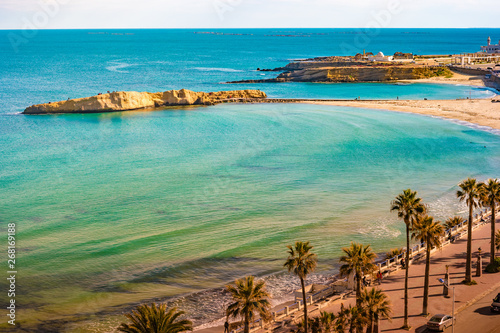 Poster Cote Monastir. Tunisia. Panoramic view of the city and the coast opens from the observation tower Ribat