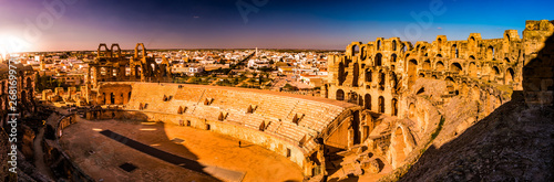 The beautiful amphitheatre in El Djem reminds the Roman Colosseum Canvas Print