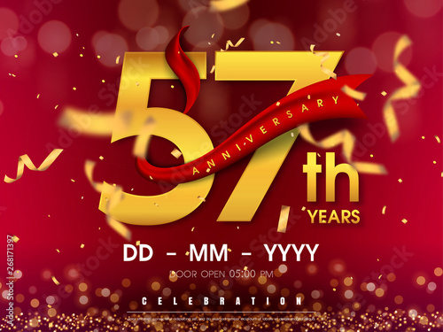 57 years anniversary logo template on gold background Wallpaper Mural